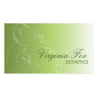 Cartão de visita verde macio elegante do salão de