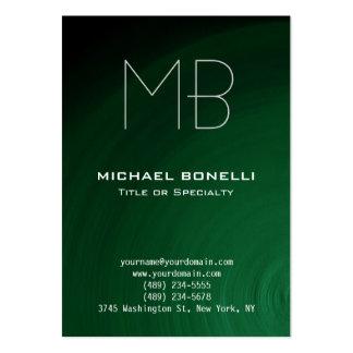 Cartão de visita verde moderno carnudo do monogram