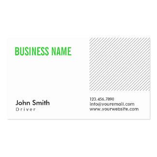 Cartão de visita verde moderno do motorista do