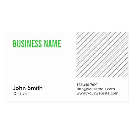 Cartão de visita verde moderno do motorista do tít