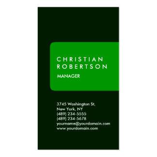 Cartão de visita verde padrão na moda vertical