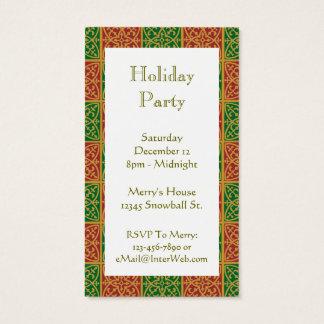 Cartão de visita verde vermelho do convite do
