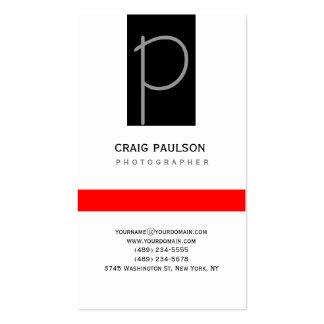 Cartão de visita vermelho branco preto cinzento