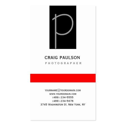 Cartão de visita vermelho branco preto cinzento li