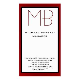 Cartão de visita vermelho branco vertical do