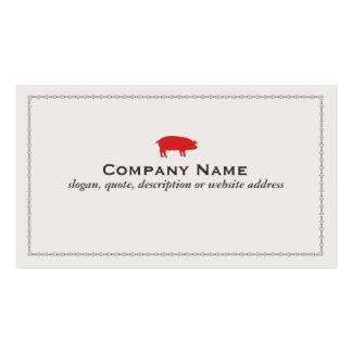 Cartão de visita vermelho da carne de porco do