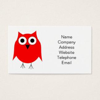 Cartão de visita vermelho da coruja