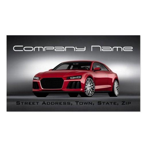 Cartão de visita vermelho de competência automotri