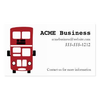 Cartão de visita vermelho do costume do ônibus do