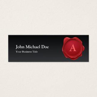 Cartão de visita vermelho do monograma do selo da