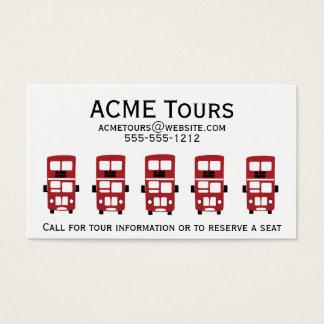 Cartão de visita vermelho do ônibus do autocarro