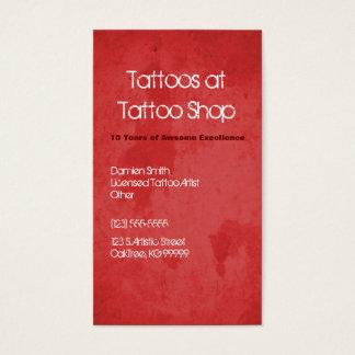 Cartão de visita vermelho do perfil do tatuagem do