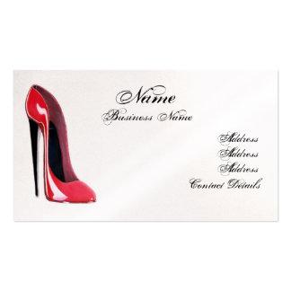 Cartão de visita vermelho elegante dos calçados do