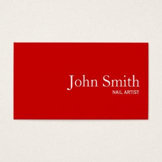 Cartão de visita vermelho liso simples da arte do