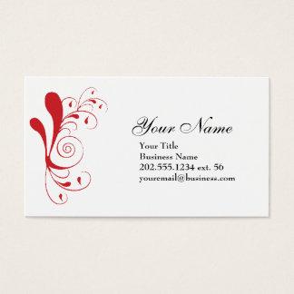 Cartão de visita vermelho simples do redemoinho