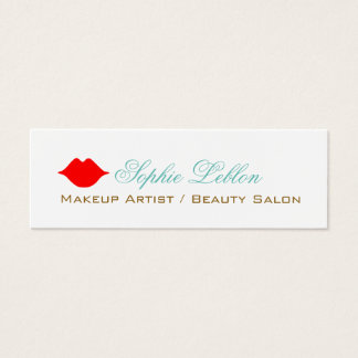 cartão de visita vermelho simples dos lábios para