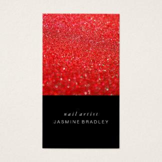 Cartão de visita - vermelho simplista do brilho