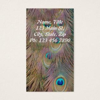 Cartão de visita vertical da pena do pavão