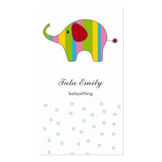 Cartão de visita vertical infantil do bebê do elef