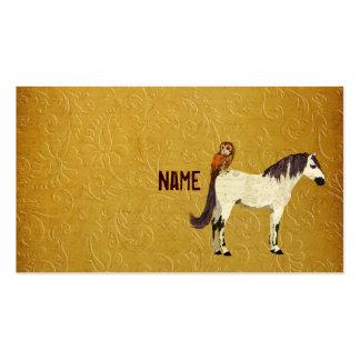 Cartão de visita violeta do cavalo & da coruja
