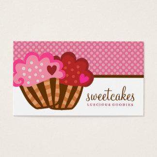 Cartão De Visitas 311 corações doces do cupcake dois dos bolos