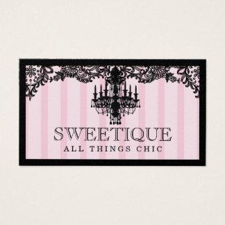 Cartão De Visitas 311 listras cor-de-rosa de Sweetique & candelabro