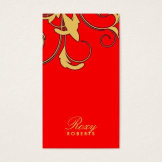 Cartão De Visitas 311-Roxy sólido | vermelho e amarelo
