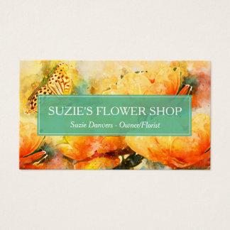 Cartão De Visitas A aguarela colorida floresce o negócio do florista