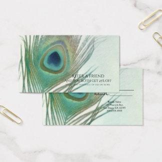 Cartão De Visitas A aguarela de Boho da pena do pavão consulta um