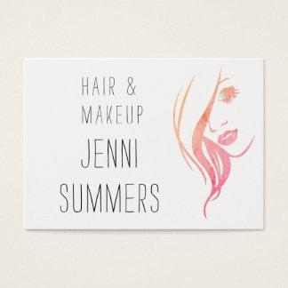 Cartão De Visitas A aguarela minimalista compo & cabeleireiro