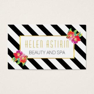 Cartão De Visitas A aguarela moderna floresce listras preto e branco