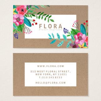 Cartão De Visitas A aguarela moderna floresce o florista do papel