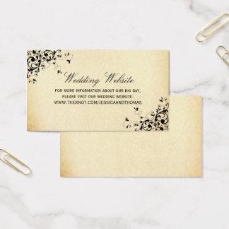 Cartão De Visitas A antiguidade elegante roda Web site do casamento