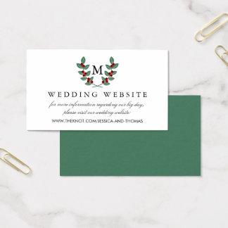 Cartão De Visitas A baga Bush do monograma que Wedding a coleção