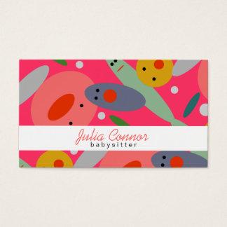 Cartão De Visitas A bolha colorida engraçada cor-de-rosa enfrenta o