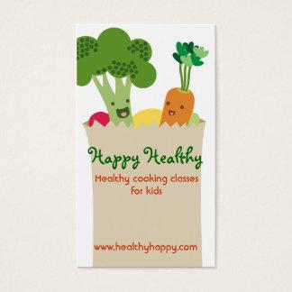 Cartão De Visitas A bolsa de compra bonito dos vegetais do kawaii