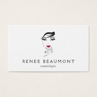 Cartão De Visitas A cara da mulher com branco elegante dos lábios