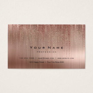 Cartão De Visitas A chuva cor-de-rosa de cobre de aço mínima da