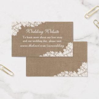 Cartão De Visitas A coleção branca rústica do laço de serapilheira &