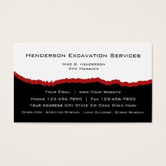 Cartão De Visitas A escavação presta serviços de manutenção ao