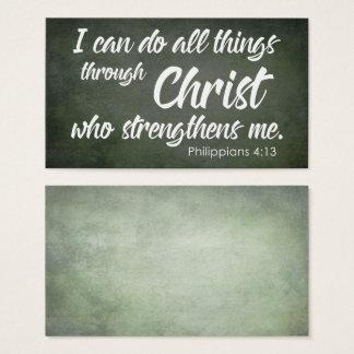 Cartão De Visitas A escritura verde do 4:13 dos Philippians