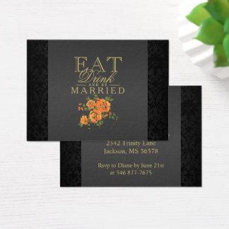 Cartão De Visitas A flor alaranjada come, bebida & seja casada -
