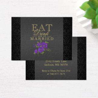 Cartão De Visitas A flor roxa come, bebida & seja casada - recepção