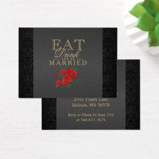Cartão De Visitas A flor vermelha come, bebida & seja casada -