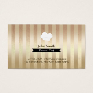 Cartão De Visitas A folha de ouro na moda do cozinheiro chefe listra