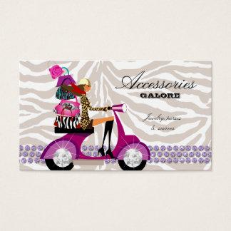 Cartão De Visitas A forma franze a zebra do roxo da jóia