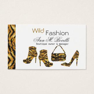 Cartão De Visitas A forma selvagem do puma das listras carreg o