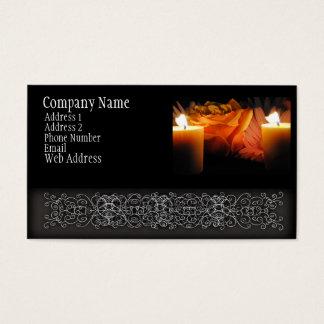 Cartão De Visitas A laranja aumentou na luz da vela