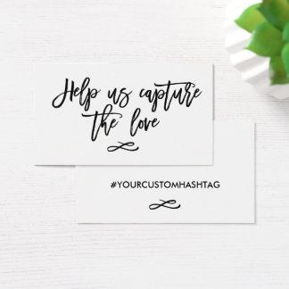 Cartão De Visitas A mão chique rotulada ajuda-nos a capturar o amor