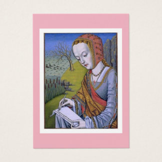 Cartão De Visitas A mulher escrevendo uma ilustração medieval da